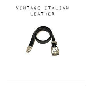 Vintage soft Italian leather black belt